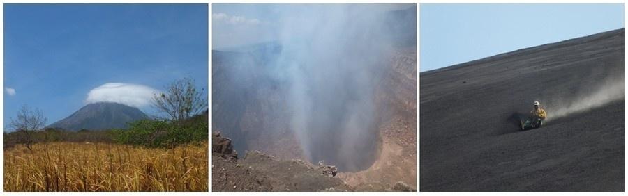 1/ Volcan Conception  2/ Volcan Masoya 3/ Sandsurf sur le Cerro Negro (photos Catherine Gary)