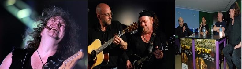 Au milieu, Pat O'May en compagnie du guitariste James Wood.  A ses côtés à la Maison de la Bretagne, Frank Darcel, DJ Zebra et Philippe Ricard de l'association Paris Breton.