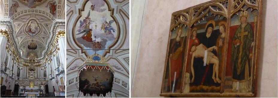 Sospel. Le chœur  de l'église Saint-Michel. @ C.Gary; Sospel Voûte de l'église Saint Michel @ C.Gary et Triptyque de la Pietà  @C.Gary