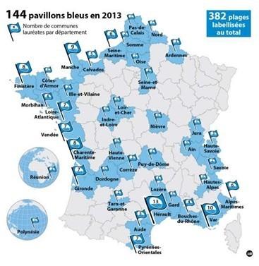 Cartographie des 383 plages de l'hexagone et de l'Outre-Mer bénéficiant du label Pavillon Bleu (Photo D.R.)