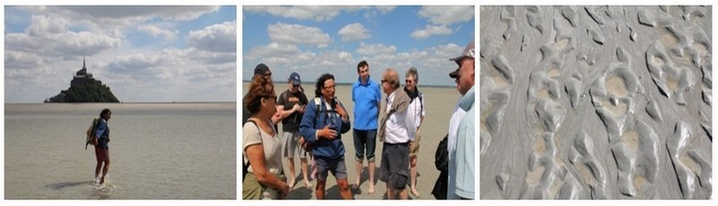 1/ Le guide Patrick entraîne les touristes vers le Mont  2/ Les touristes entourent le guide avant la balade 3/ Le sable gris de la baie (photos André Degon)
