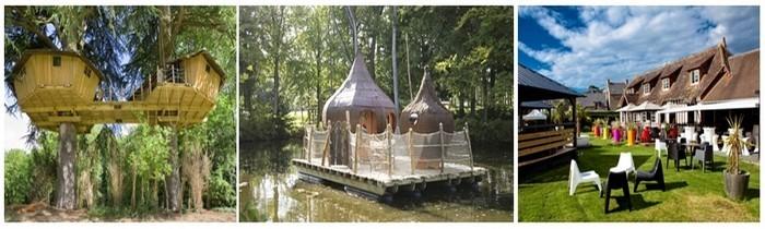 1/ Domaines des Ormes , Cabanes dans les arbres 2/ Cabanes sur l'eau 3/ Restaurant  le Yukunkun  (Photos D.R.)