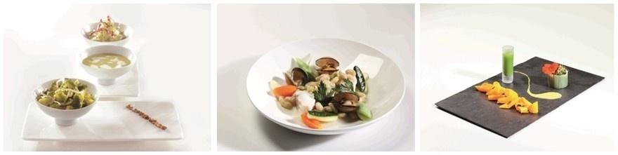 1/ Entrée froide de légumes régime detox 2/ - Lotte aux fruits de mer et aux haricots de Paimpol  3/  Un hors d'œuvre au menu ayurvédique (Photos Quentin Mornay)