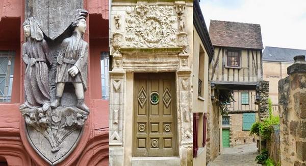Photo 1/Maison des deux amis dans la Cité Plantagenêt @C.Gary ; 2/  Détail de la Maison d'Adam et Eve dans la vieille ville @ C.Gary ; 3/ La Maison suspendue Cité Plantagenêt @ C. Gary
