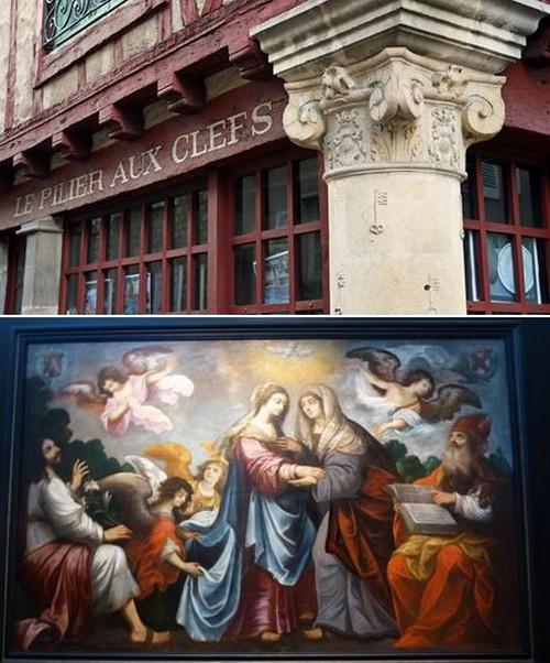 De haut en bas :  Pilier aux clefs Cité Plantagenêt © pierre poirrier ville du mans; Exposition Trésors d'Art sacré à l'Abbaye de l'Epau @C.Gary