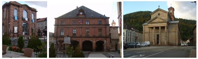 Ces trois monuments de gauche à droite 1/Le théâtre 2/ La Mairie  3/ l'église Saint-Luc  se situent à proximité du Relais Alsace-Lorraine en plein centre ville de Raon-L'Etape, Porte des Vosges (Photos Kim Frossard)
