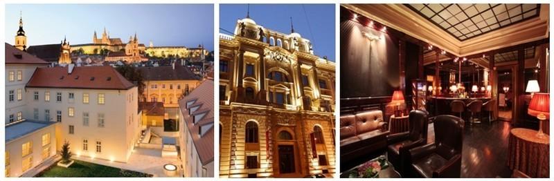 De gauche à droite Le Mandarin Oriental Prague, façade du Grand Hôtel Europa, l'un des salons de l'hôtel cinq étoiles Boscolo (Photos D.R. et David Raynal)