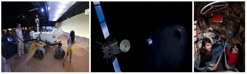 1/- EXPLOREZ MARS avec le robot martien CURIOSITY en taille réelle et mobile, une exclusivité de la Cité de l'espace (en partenariat avec le CNES) ©Cité de l'espace 2/ ROSETTA : La Cité de l'espace présentera en 2014 l'épopée de la Sonde astronomique Rosetta partie pour un voyage de 10 ans  à destination d'une comète ©ESA 3/ - Vaisseau SOYOUZ en taille réelle pour s'installer dans un véritable vaisseau comme un cosmonaute ©Cité de l'espace