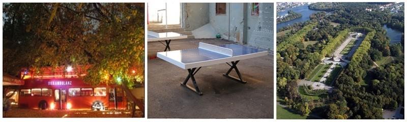 1/ Republik Frank und Frei Biergarten et son bus rouge 2/  Le bar  DrPong et son unique table de ping-pong 3/ Vue d'ensemble sur Treptower Park ( Photos DR)