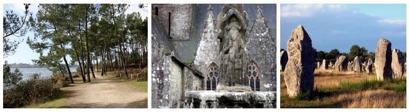 """1/ La côte sauvage au bord du golfe du Morbihan près de Vannes  2/   Rochefort-en-Terre une """" Petite Cité de Caractère """" et l'un des """"Plus Beaux Villages de France"""",au coeur de l'Argoat (pays des bois en breton) (Photos David Raynal) 3/  Les étonnants menhirs de la ville de Carnac  (photo DR)"""