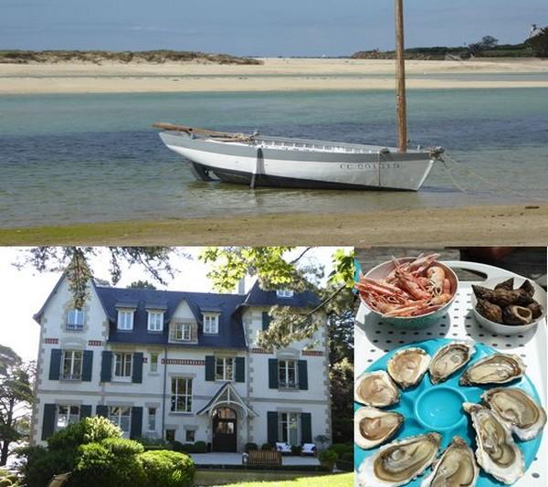 1/  La mer Blanche  entre Bénodet et Fouesnant  @C.Gary , 2/ Villa Tri Men à Sainte Marine @C.Gary , 3/  régal d'huîtres aux Viviers de Penfoulic. La Forêt Fouesnant  @C.Gary