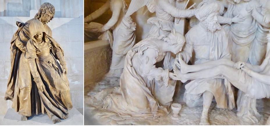 1/  St Mihiel Pamoison de la Vierge de Ligier Richier dans l'église abbatiale gothique @ C.Gary . 2/  St Mihiel Eglise Saint Etienne La Mise au tombeau de Ligier Richier La mise au tombeau @ C.Gary