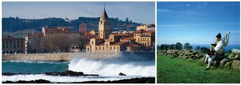 De gauche à droite : A mi-chemin entre le Pays Basque et la Galice, les Asturies sont une étape du chemin nord de St-Jacques de Compostelle. Les Asturies possèdent une tradition musicale vivante d'une grande richesse. La gaita, cornemuse du pays, est d'ailleurs considérée comme un véritable instrument « national ».(Photos OT Asturies)