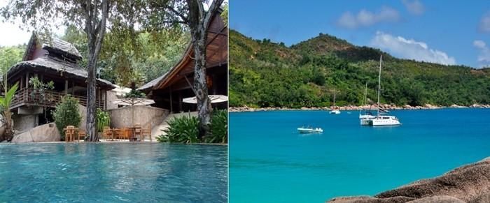 De gauche à droite : A seulement 5 minutes de l'aérodrome, le Constance Lémuria Resort de Praslin se déploie sur un site idyllique au nord-ouest de la troisième plus grande île des Seychelles;  Vue sur l'Anse Lazio à Praslin (Seychelles) (Photos David Raynal)