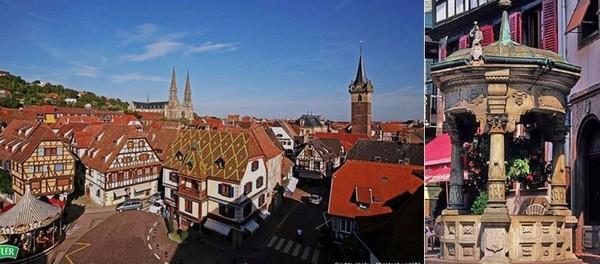 Dans le vieil Obernai  on peut  admirer les façades historiques et colorées entourant la place du Marché et son beffroi, se pencher au-dessus du puits à six seaux et faire un vœu. @ Pixabay/Lindigomag