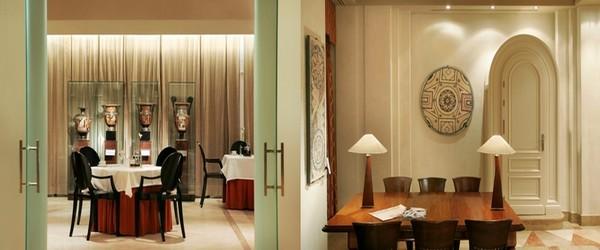 l'hôtel Villa Real l expose plus de 100 pièces d'art antique à travers ses salons, ses couloirs et même ses chambres. De gauche à droite les vases apuliens dans la salle de restaurant; Salle de travail et antiquités (photos Catherine Gary)