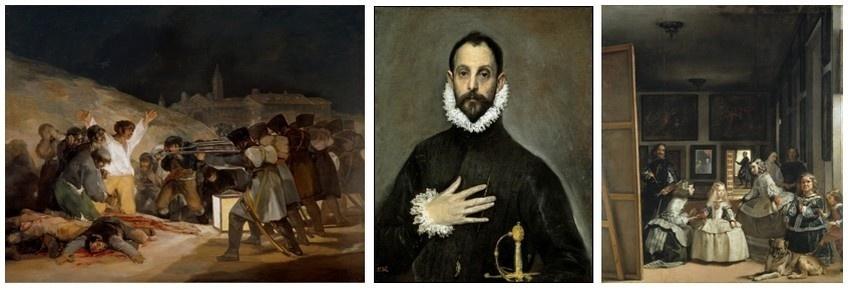 Au musée du Prado,Plus de 8 000 œuvres d'art sont ici accrochées pour un parcours de chefs d'œuvre de l'art occidental qui va du Moyen Age à la fin du XIXè siècle. De gauche à droite : El tres de Mayo de Goya ; Le Chevalier à la main sur la poitrine du Greco ; Les Ménines de Vélasquez (photos Musée du Prado)