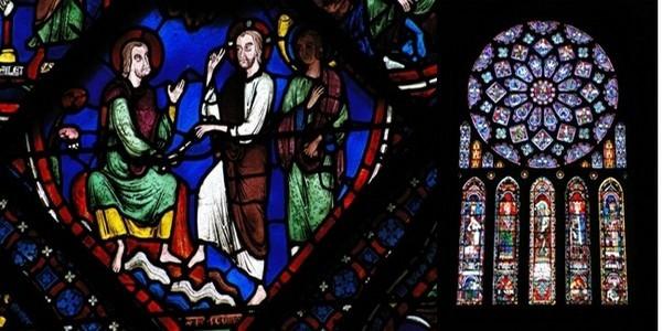 De gauche à droite : Détail de vitrail de la cathédrale© Office de Tourisme de Chartres; L'une des grandes rosaces de la cathédrale © Office de Tourisme de Chartres.