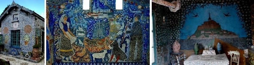 De gauche à droite : L'un des façades entièrement mosaïquées de la maison-light de Raymond Isodore; Scène champêtre dans la petite chapelle bleue ; Décor de Mont Saint-Michel sur un mur de la cuisine (photos DR)