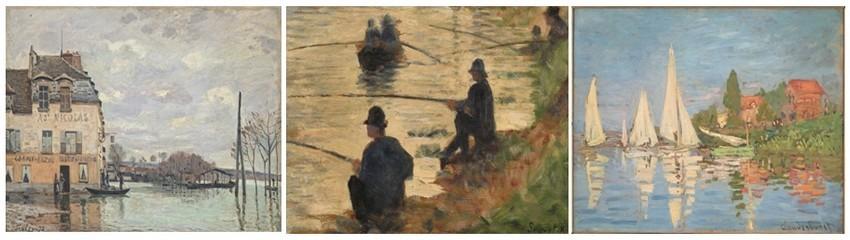 De gauche à droite :  SISLEY Inondations à Port-Marly. 1883; SEURAT Les pêcheurs à la ligne 1883;  MONET Les régates à Argenteuil, vers 1872. (photos DR)