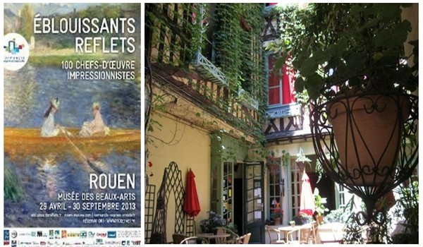 """De gauche à droite : Affiche exposition """"Eblouissants reflets"""" ;  Ravissante cour fleurie du Vieux Carré (photos DR)"""