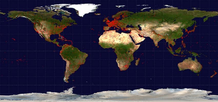 Carte de distribution des aéroports dans le monde (Photo Wilkipédia.org)