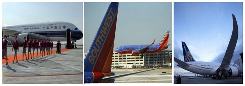 de gauche à droite  Avion de la compagnie China Southern et ses hôtesses; Avions Cie Southwest; Avion  de la Cie United Airlines (photos DR)