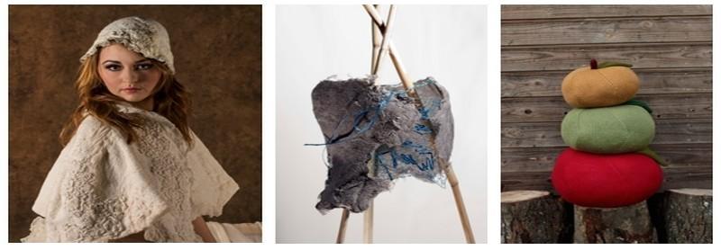 De gauche à droite : Le mouton sur l'enclume - feutrine d'Art textile; Armure de Véronique Zimmerman;  Pom 3 (photos DR)