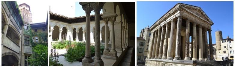 De gauche à droite : Au détour d'une ruelle, on pénètre dans une cour Renaissance ; le cloître de l'église Saint André-le-Bas; Le Temple d'Auguste et de Livie dresse ses lignes parfaites au centre d'une place animée de terrasses (photos Catherine Gary)