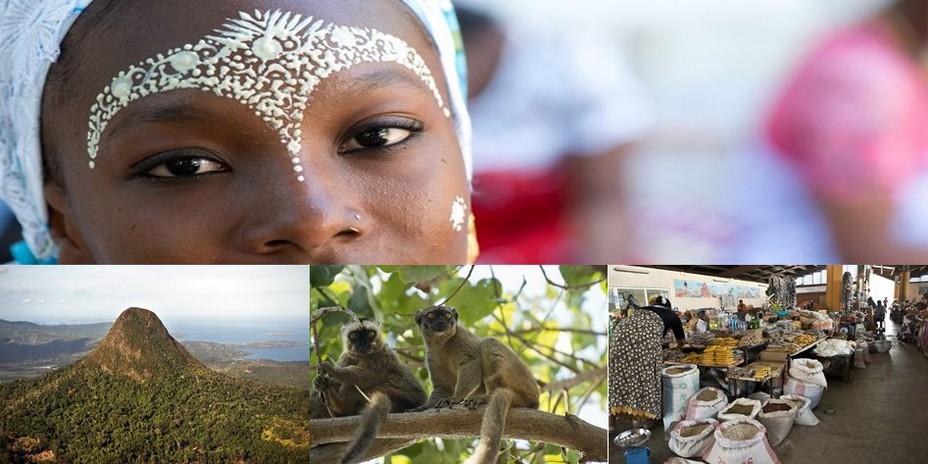 Photo haut : Les femmes portent  Le M'SINDZANO . Un masque de santal qui sert à purifier la peau et qui protège du soleil. @ CDT Mayotte; photo du bas 1/ Mayotte - Mont Choungi  @CDT Mayotte; 2/  Petits singes à Mayotte et 3/ Marché aux épices @ CDT Mayotte