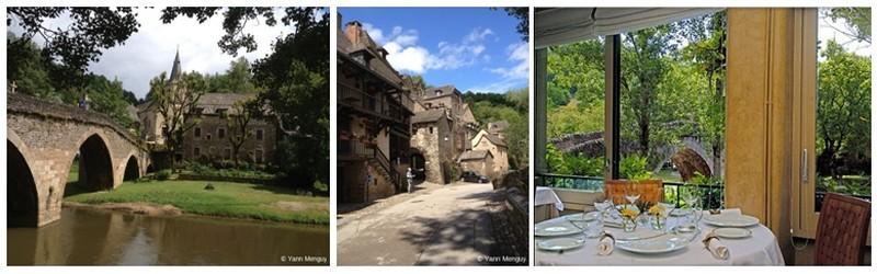 de gauche à droite :  le sublime pont du XVème avec sa Croix ; Le restaurant du Vieux Pont et  invitation à sa table donnant sur le paysage verdoyant (photos Yann Menguy)
