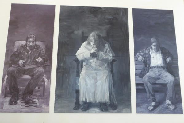 Autoportrait monumental en 3 volets de Yan Pei Ming @ C.Gary