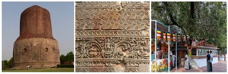 """de gauche à droite : 1/ Le Stupa de Dhamek. C'est ici que Bouddha a prêché son premier sermon il y a 2500 ans. Ce sermon appelé """"la mise en mouvement de la roue du dharma"""" résume les grands principes bouddhistes  Le stupa original date du 2eme siècle et remanié au 7eme. Il mesure 35m de haut et 30m de diamètre ©Roger Jacquelin ; 2/ Détail du Stupa Dhamekh  ©DR;  3/ l'arbre de La Bodhi, sous les branches duquel le prince Siddhârta a atteint l'illumination. Il fut ensuite connu sous le nom de Bouddha   ©DR"""
