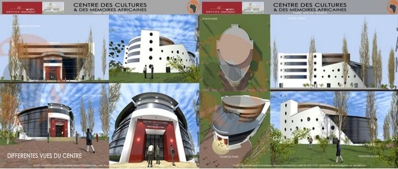 Coupes et plans du projet généré par l'Association Dynafrica  du  Centre des Cultures et des mémoires africaines en France et réalisé par le cabinet d'architecture CofArchi   (photos et plans www.cof-archi.com)