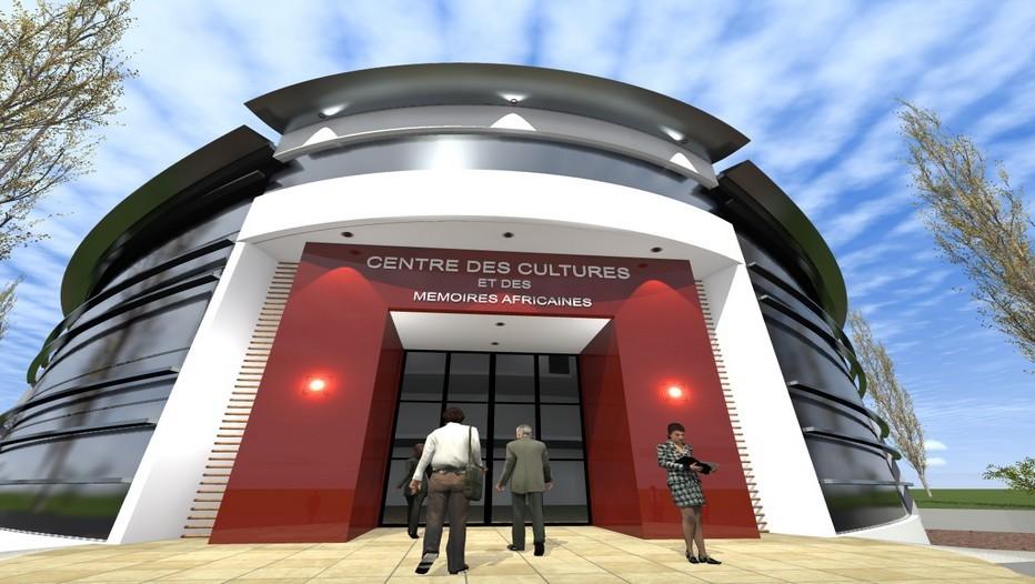 Vue sur l'entrée principale du projet Centre des Cultures et des mémoires africaines en France (photo www.cof-archi.com)