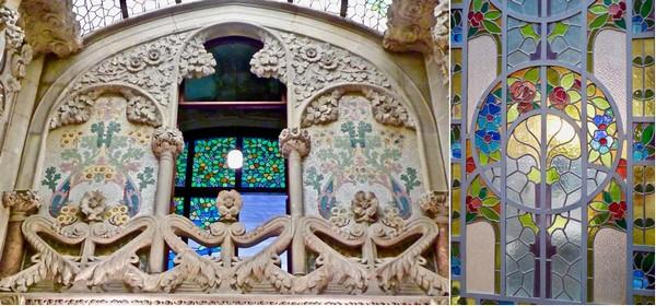 1/  Décor Art nouveau dans la très belle Casa Navas.@ C.Gary ; 2/ Verrière Art Nouveau de la Casa Navas. @C.Gary