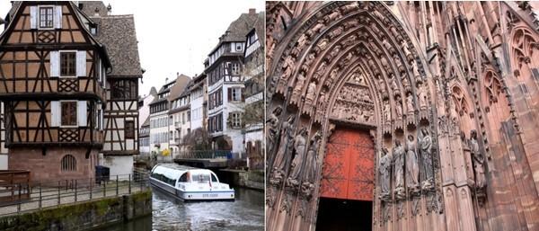 Petite balade en bateau mouche sur les canaux du quartier de la Petite France  qui  tire son nom de l'hospice des vérolés, construit à la fin du XVe siècle pour accueillir les personnes atteintes de syphilis, appelée également le « mal français ». Vue du tympan du portail principal de la cathédrale de Strasbourg. (Crédit photo David Raynal)