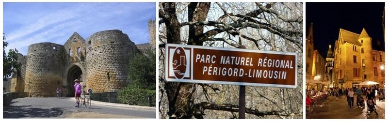 De gauche à droite : Tour du Périgord Noir; Entrée du parc naturel régional du Périgord-Limousin; Le marché de Sarlat, l'une des plus belles villes du Périgord Noir (photos DR)