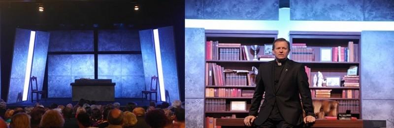 de gauche à droite : Le décor de Stéfanie Jarre est épuré ; Des trouvailles aussi, comme ce mur, qui devient bar de haut en bas alignant une collection de bouteilles de whisky, derrière le comédien Francis Huster  (photos Lot)