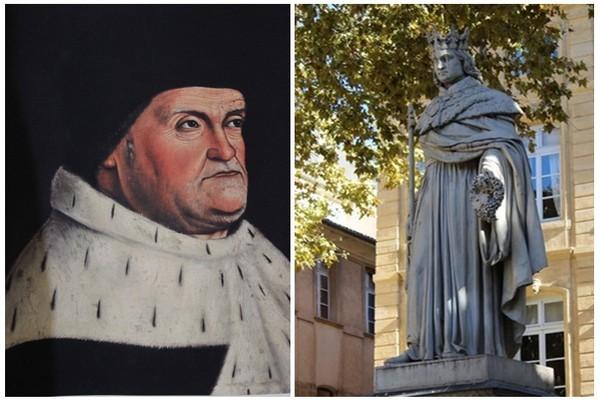 De gauche à droite peinture du visage du Roi René du XVème siècle pour laquelle il a posé et le visage de cette statue. On voit bien la différence, les traits de la statue ne ressemblent en rien aux siens et d'ailleurs la foule massée sur le cours lors de l'inauguration en 1819 ne s'y est pas trompée (photos DR)