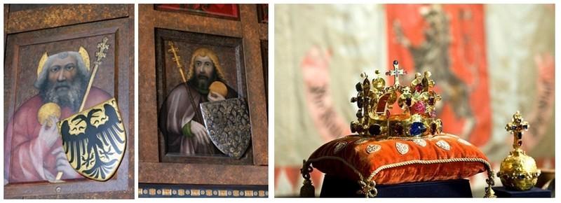 Devant le danger de guerre civile, Venceslas, emporta les joyaux  hors de Bohême. Œuvre culminante des joailliers pragois, la couronne royale faite en or pur et sertie de 20 perles et 96 pierres précieuses (rubis, émeraude, saphir). Un camée de saphir qui représente la crucifixion du Christ fut incrusté au sommet de la croix en or. ( Photos 1 et 2  Crédit photo David Raynal)  - (Crédit Photo 3 Czechtourism.com)