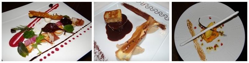 """De gauche à droite : Coquilles Saint-Jacques cuites à la plancha - Copeaux de jambon »Ibérico Guijuela » - Mousse de betterave « chiogga » - d'André Villemin (chef de partie entrée, aux Ducs de Lorraine à Épinal; Filet de biche au foie gras poêlé accompagné d'une savoureuse purée Xocopili; Vacherin """"revisité"""" à la mangue et à la passion de Remi Gornet second du restaurant """"Les Ducs de Lorraine"""" d'Epinal (Crédit Photos Bertrand  Munier )"""