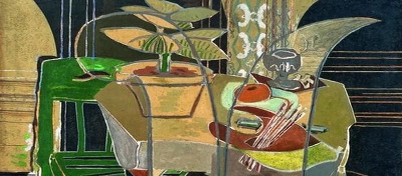 Georges Braque, Grand intérieur à la palette, 1942, huile et sable sur toile ; 145 x 195,6 cm, Houston, The Menil Collection, © Photo Hickey-Robertson, Houston. The Menil Collection, Houston, © Adagp, Paris 2013