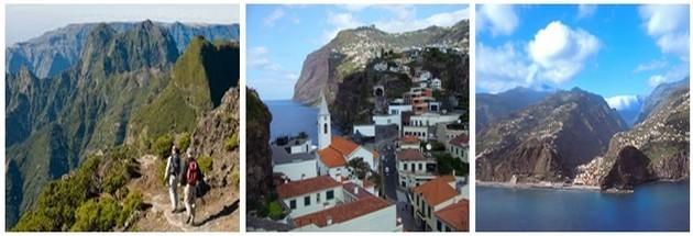 De gauche à droite : chemin des randonneurs à Madère (crédit photo DR); La petite ville de Camara de Lobos; La Riberira Brava (Ravine sauvage) (Crédit photos André Degon)