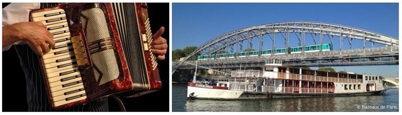 Sur un air d'accordéon (Crédit photo DR) vous naviguerez sur la Seine à la découverte de Paris. (Crédit photo Compagnie des Bateaux de Paris)