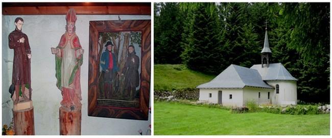 1/ Statue (à gauche) de l'ermite de Ventron  Pierre Joseph Formet . 2/ Chapelle de Frère Joseph à Ventron (Crédit Photo Bertrand Munier)