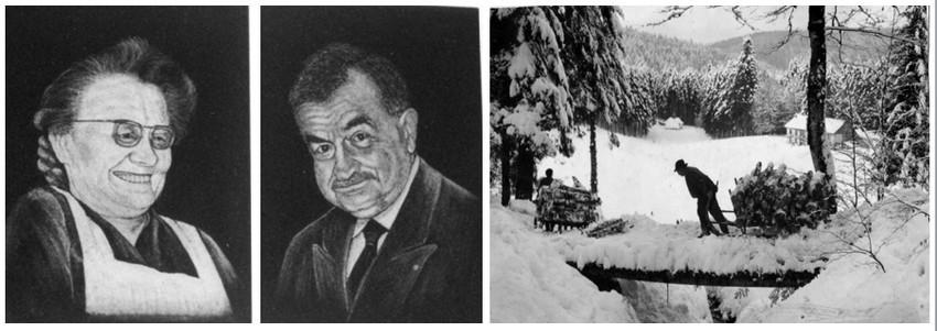 de gauche à droite : Émile Leduc donna son nom à Marie Valdenaire, le 12 août 1922. (Collection Marguerite Leduc);  Émile Leduc dans son antre de Frère-Joseph dans les années 1920 (collection Marguerite Leduc)
