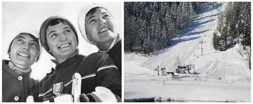 1/ De gauche à droite, Thérèse, Anne-Marie et Marguerite Leduc, le trio gagnant de l'or blanc vosgien et hexagonal.(Crédit photo Marguerite Leduc)); 2/ Une des nombreuses pistes de ski du domaine skiable véternat. (Crédit Photo Ermitage-Resort)