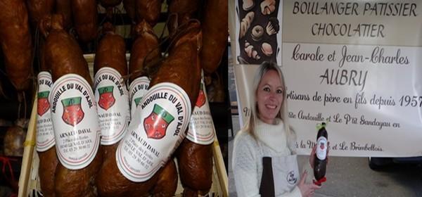 De gauche à droite : La véritable andouille du Val d'Ajol; Photo 3) La boulangerie-pâtisserie ajolaise de Carole et Jean-Marie Aubry propose des andouilles en chocolat rehaussées du sceau (Crédit Photo Bertrand Munier)