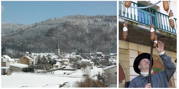 De gauche à droite : Paysage sous la neige de Girmont Val d'Ajol (Vosges) (Crédit Photo DR); Présentation de l'andouille lors de la foire de Val d'Ajol dans les Vosges (Crédit photo DR)
